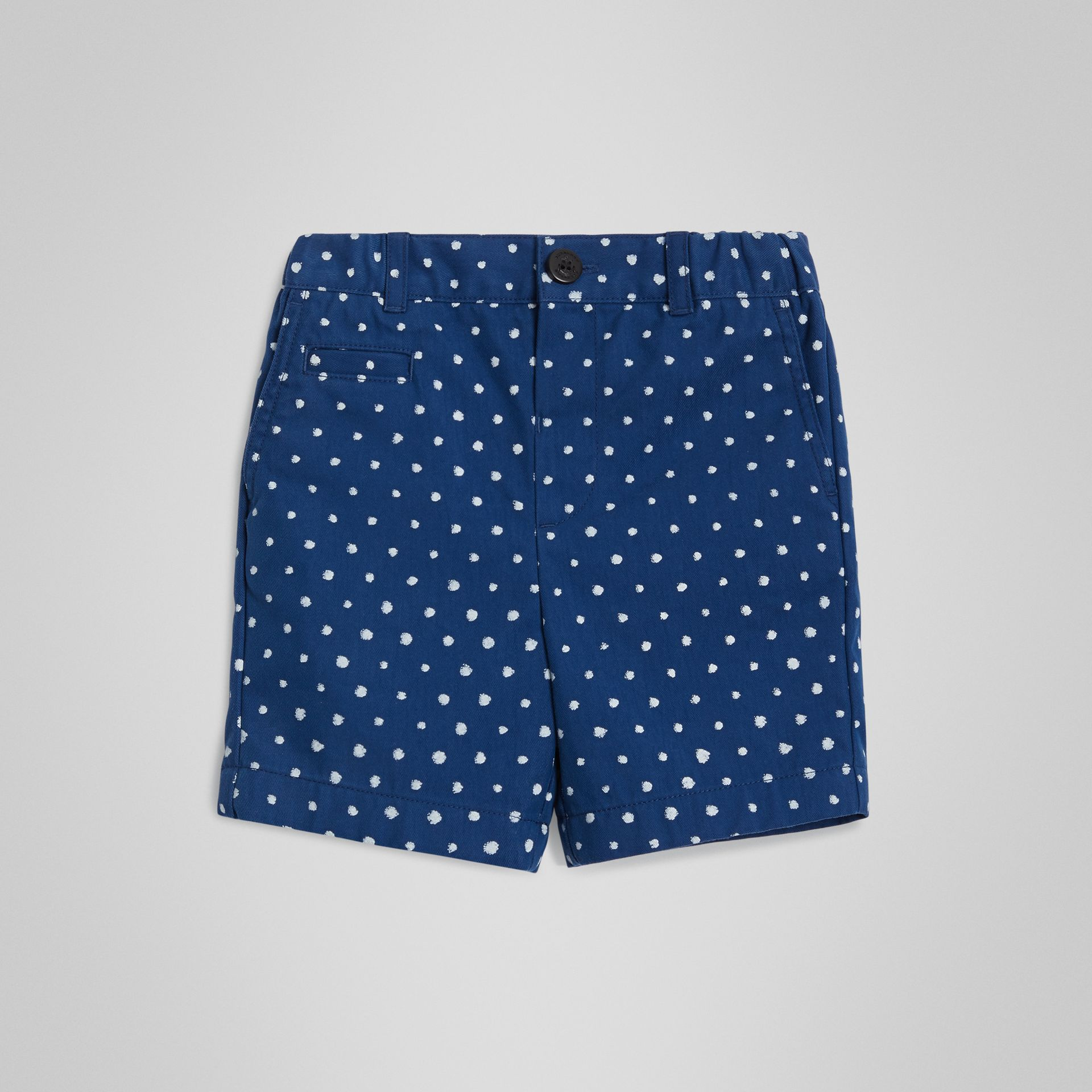Spot Print Cotton Blend Shorts in Bright Navy - Children | Burberry - gallery image 0
