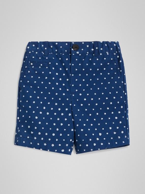 Pantaloncini in misto cotone con stampa a pois (Navy Intenso)