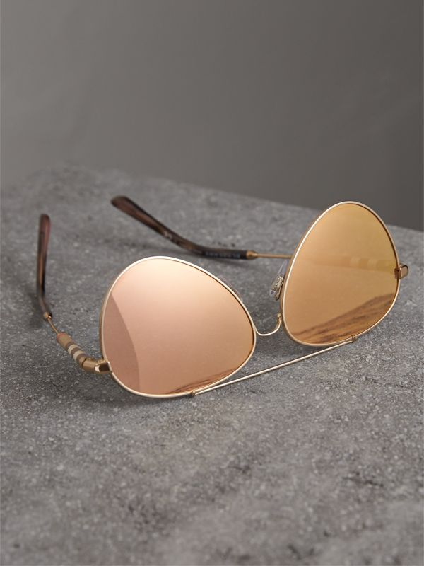 Check Detail Pilot Sunglasses in Rose Gold - Women | Burberry United Kingdom - cell image 2