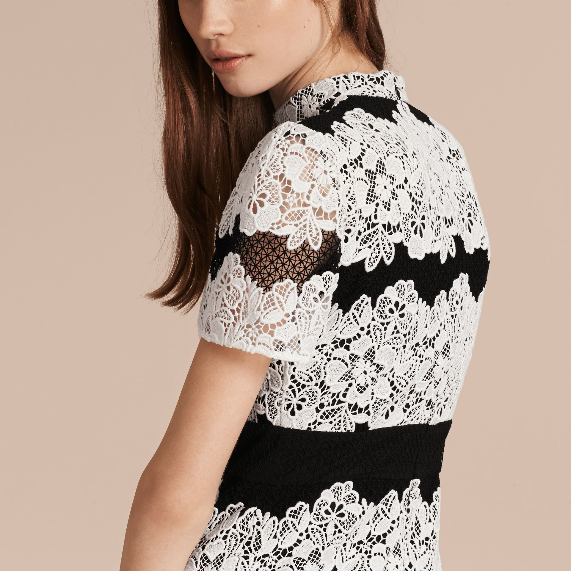 Black/white Mesh and Macramé Lace Shift Dress - gallery image 6