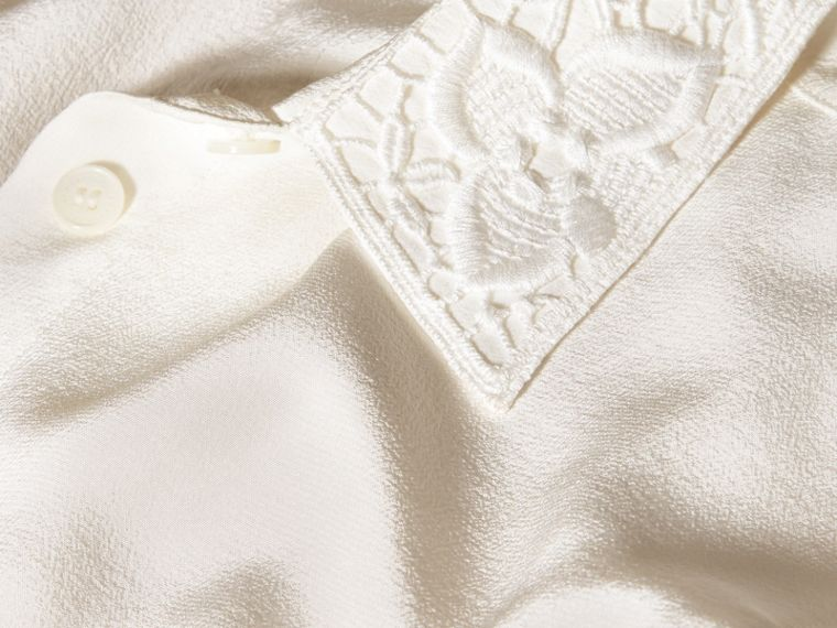 White Lace Collar Silk Shirt White - cell image 1