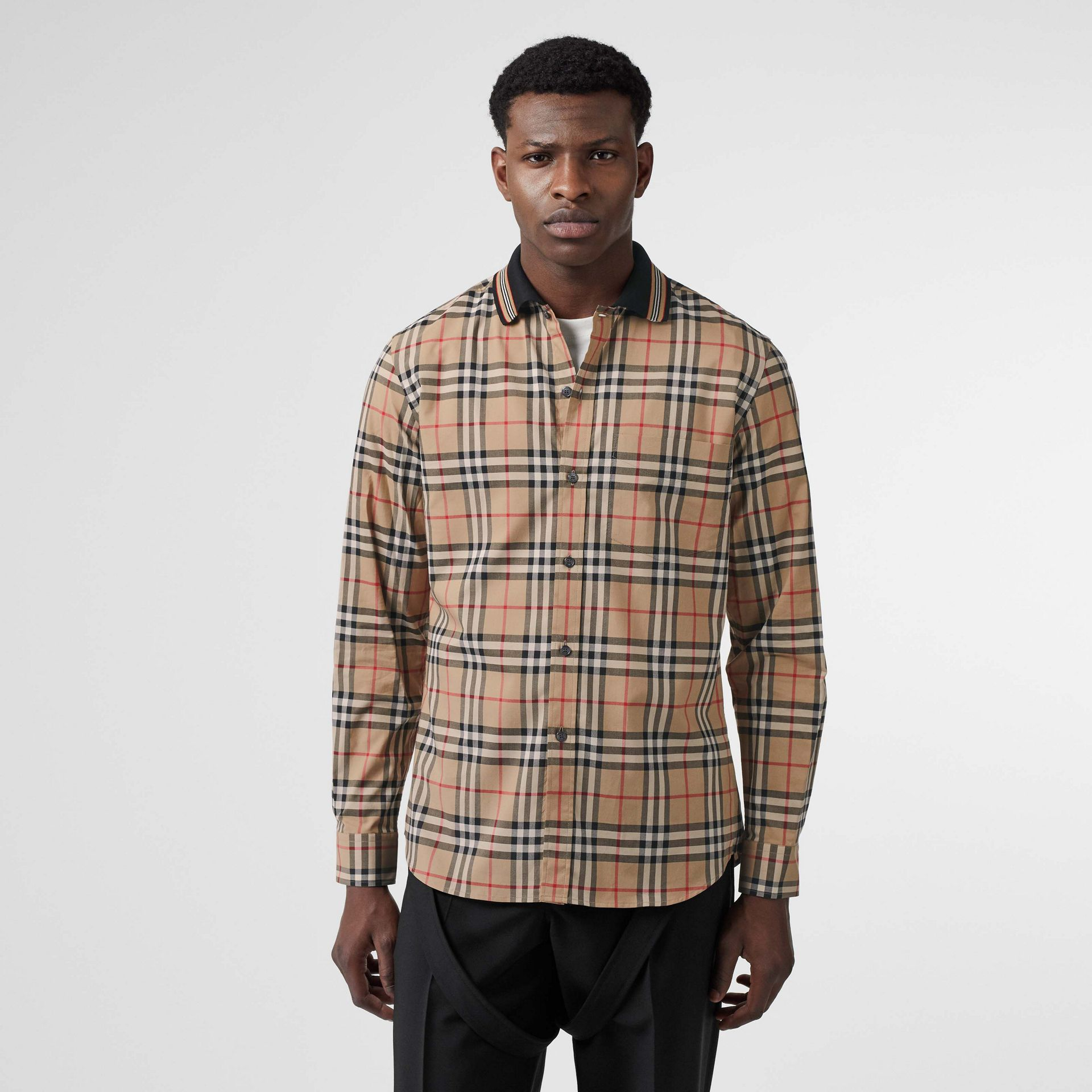 Icon Stripe Detail Vintage Check Cotton Shirt in Archive Beige - Men | Burberry - gallery image 0
