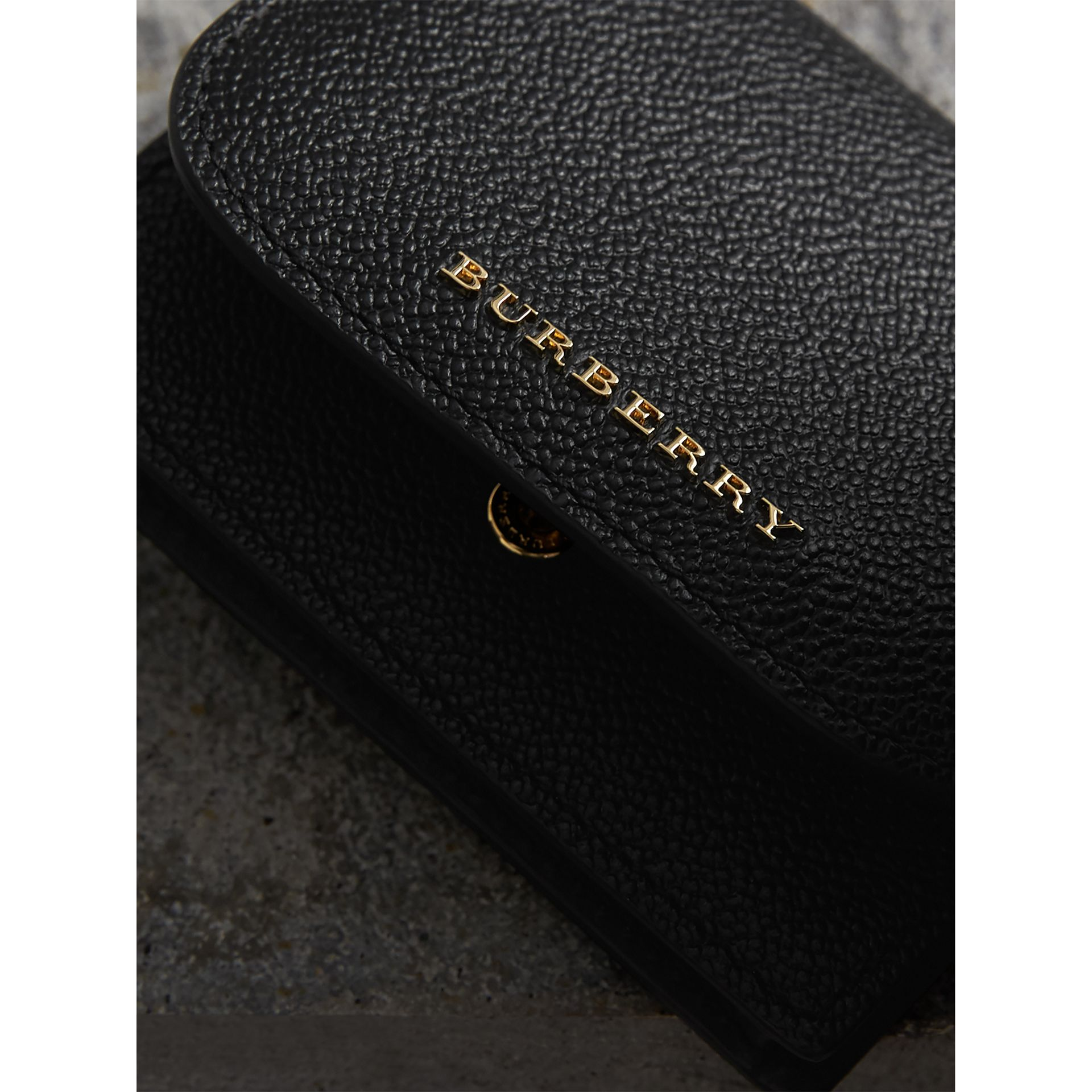 Grainy Leather Card Case in Black - Women | Burberry - gallery image 2