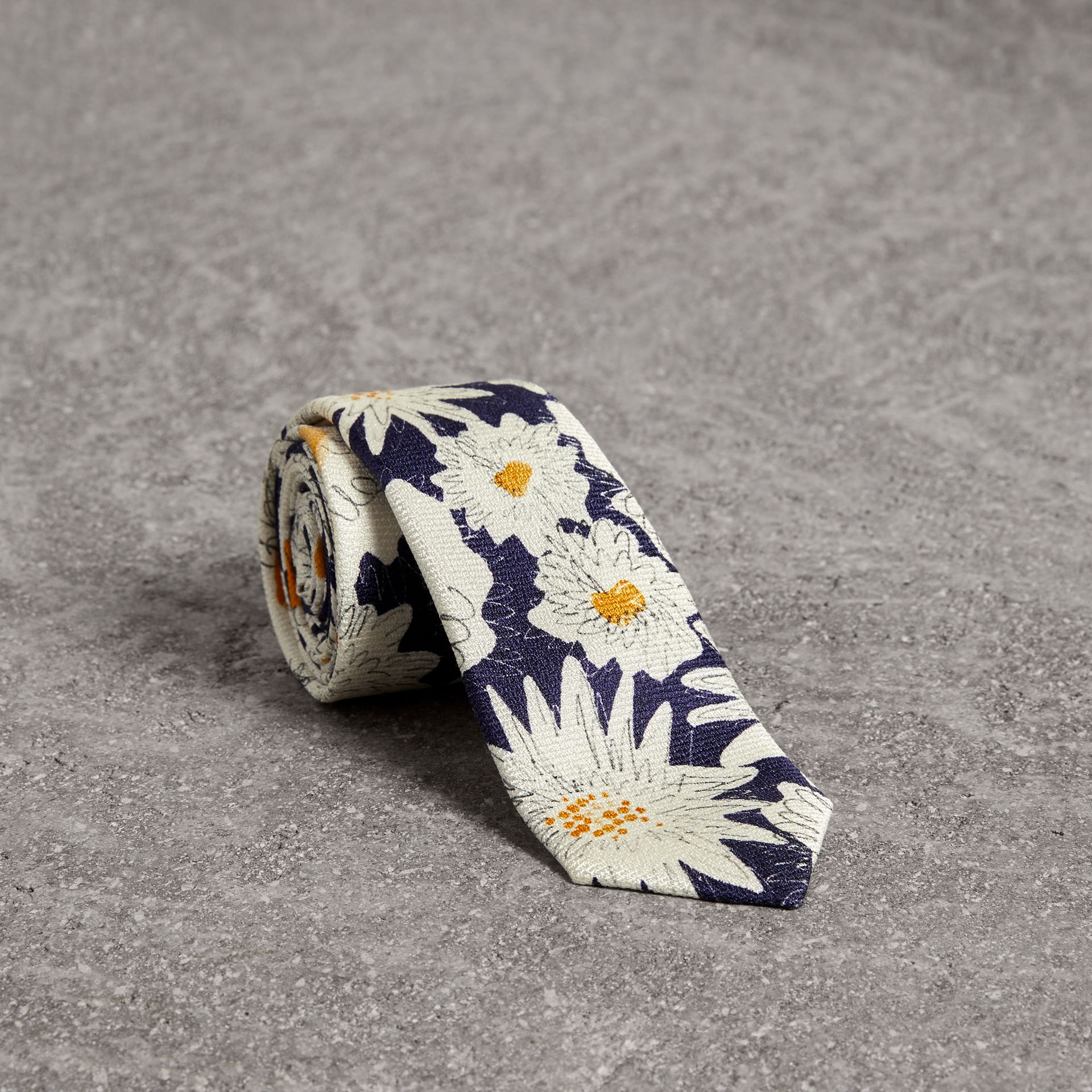 Slim Cut Daisy Print Silk Tie in Navy - Men | Burberry - gallery image 0