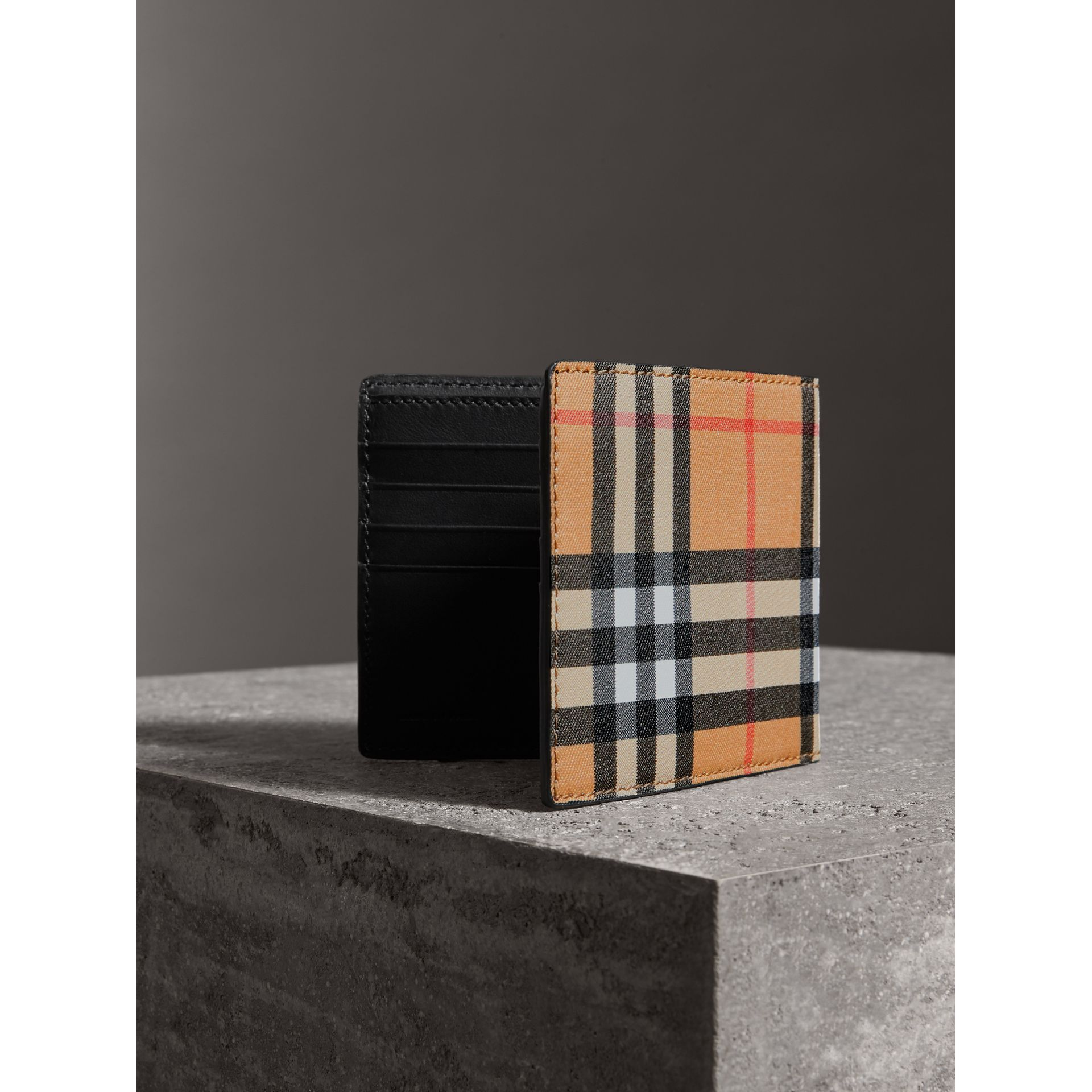 Vintage Check International Bifold Wallet in Black - Men | Burberry - gallery image 2