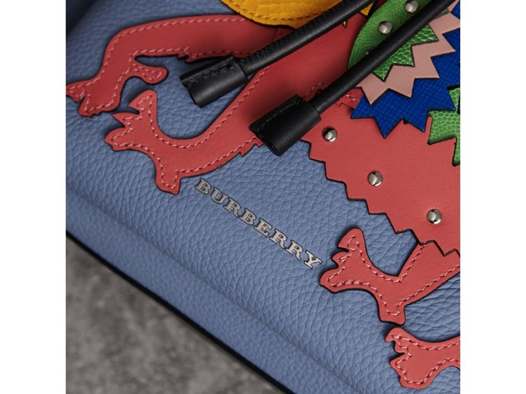 The Large Rucksack in Deerskin with Beasts Motif in Slate Blue - Women | Burberry Australia - cell image 4