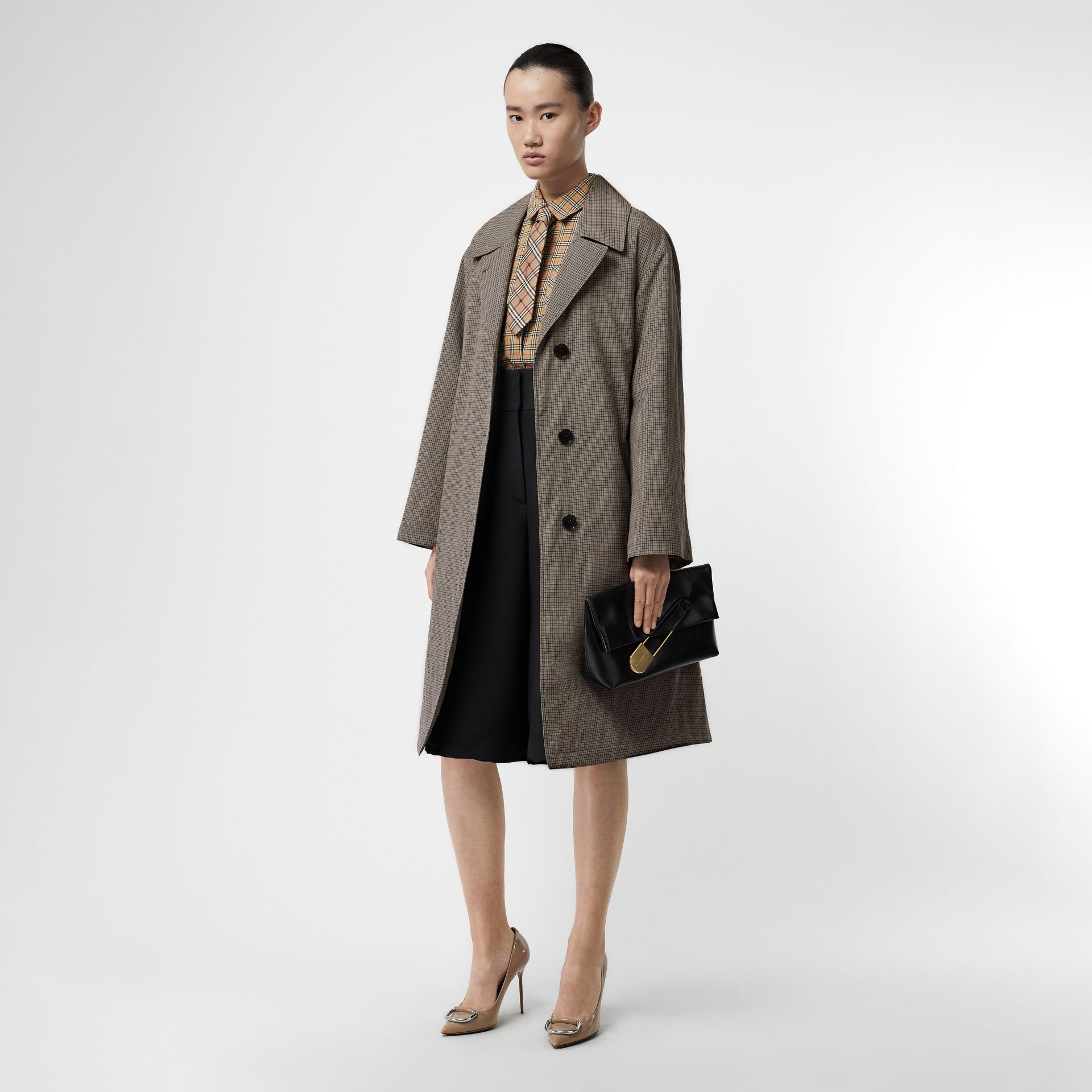 Check Wool Oversized Coat in Taupe - Women | Burberry - gallery image 0