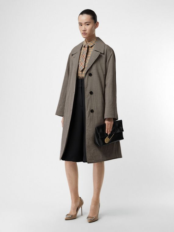 Check Wool Oversized Coat in Taupe