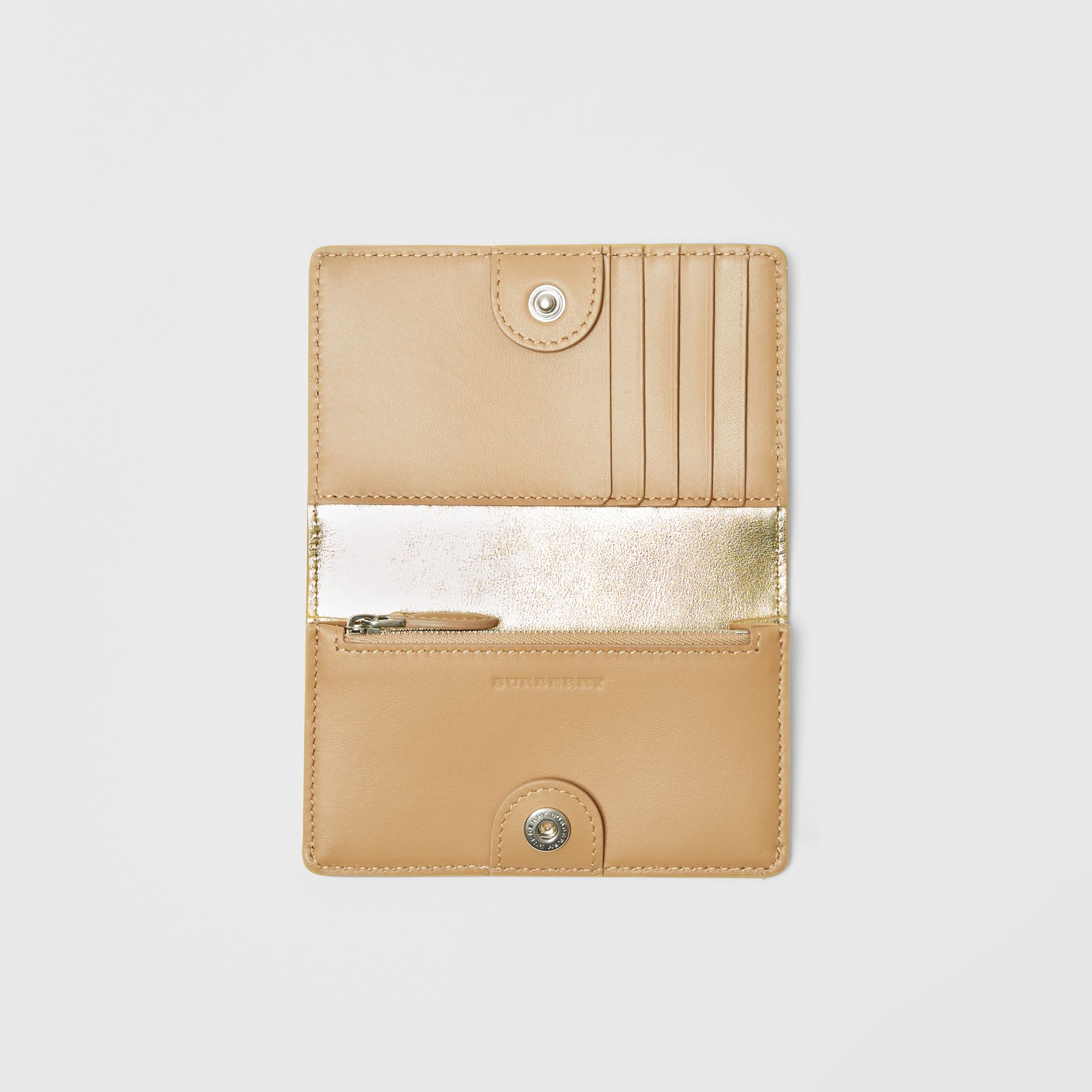Small Embossed Crest Metallic Leather Wallet in Gold - Women | Burberry Singapore - gallery image 2