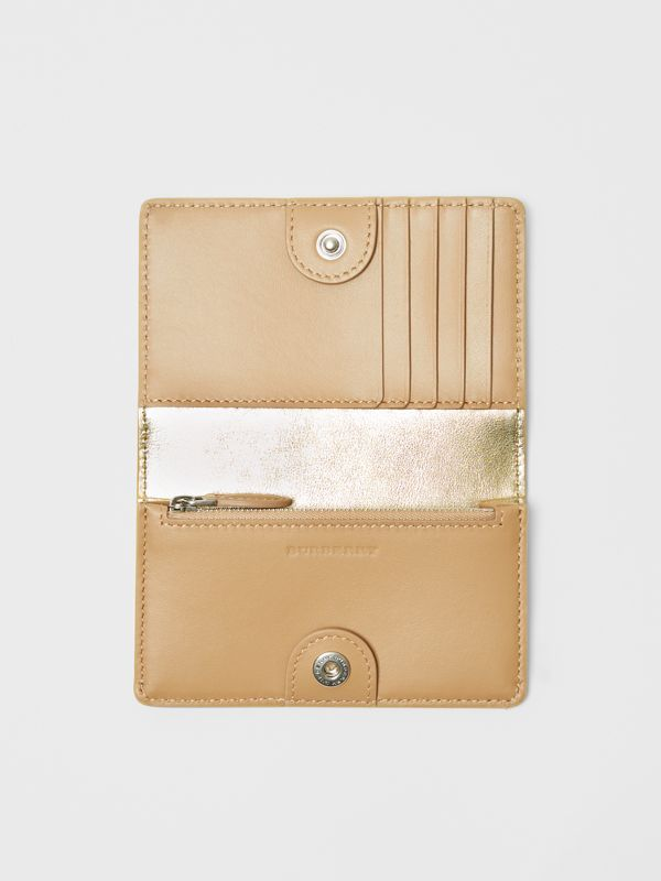 Small Embossed Crest Metallic Leather Wallet in Gold - Women | Burberry United Kingdom - cell image 2