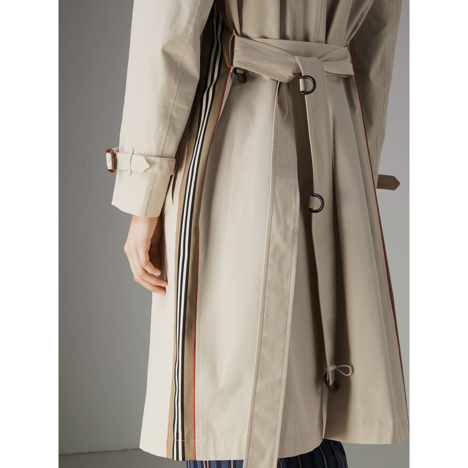 Striped Ribbon Cotton Gabardine Trench Coat in Stone - Women | Burberry United Kingdom - gallery image 5