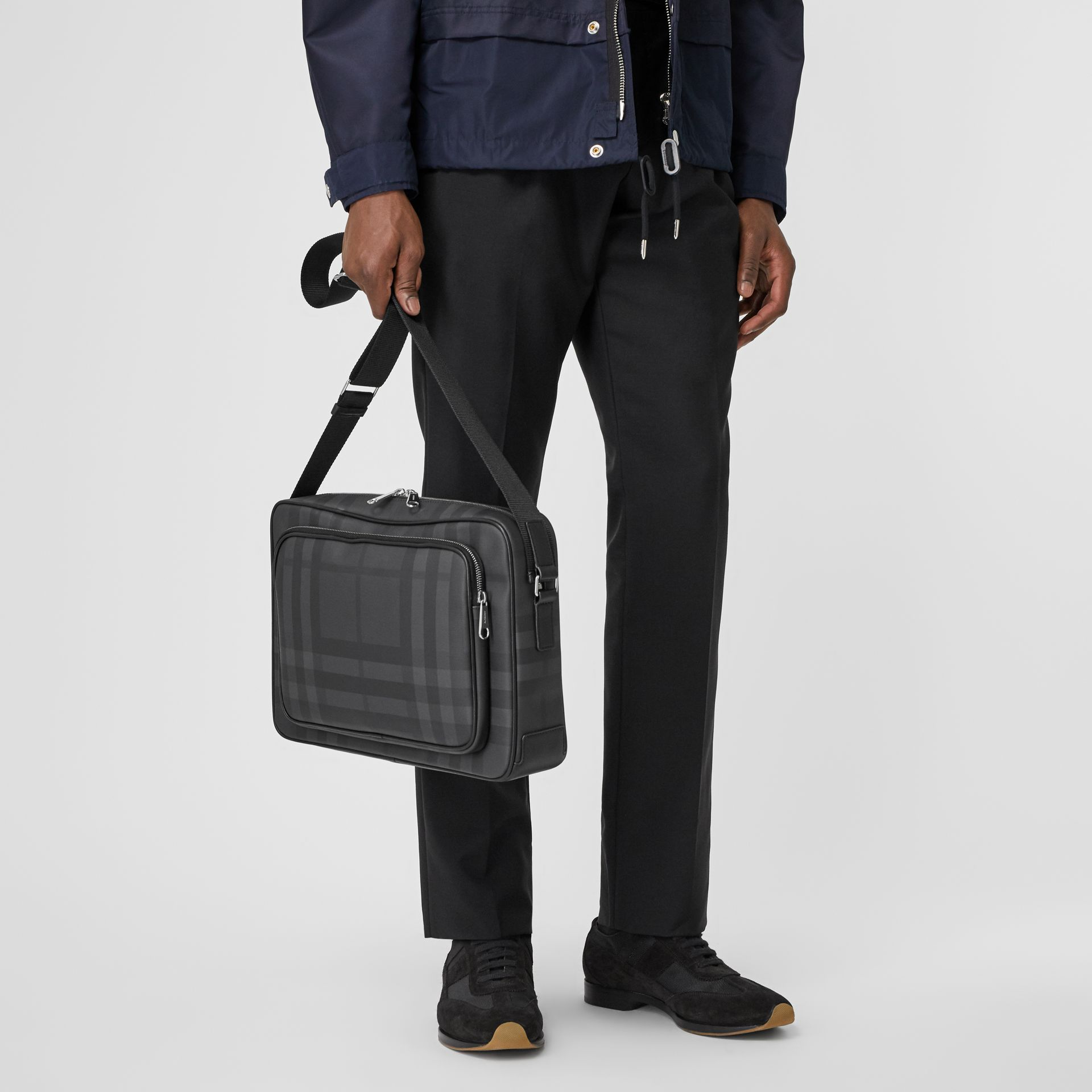 London Check and Leather Messenger Bag in Dark Charcoal - Men | Burberry United Kingdom - gallery image 2