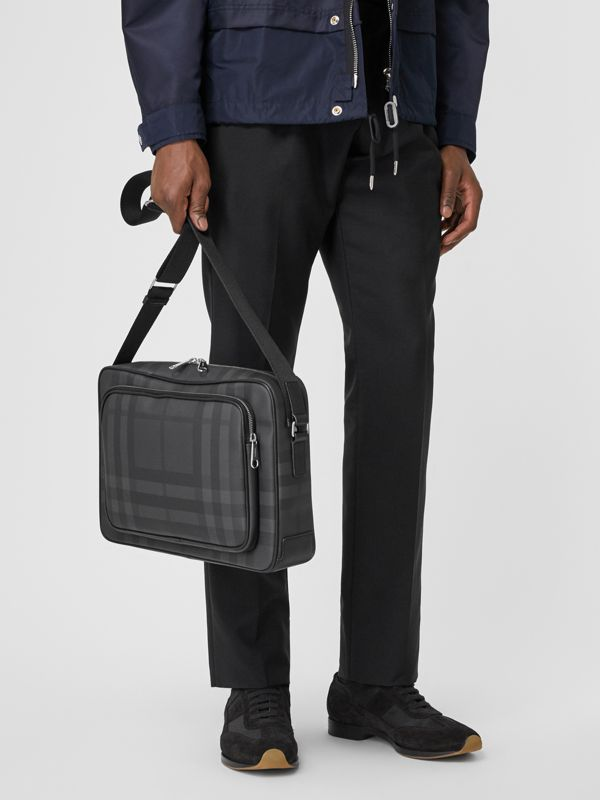 London Check and Leather Messenger Bag in Dark Charcoal - Men | Burberry United Kingdom - cell image 2