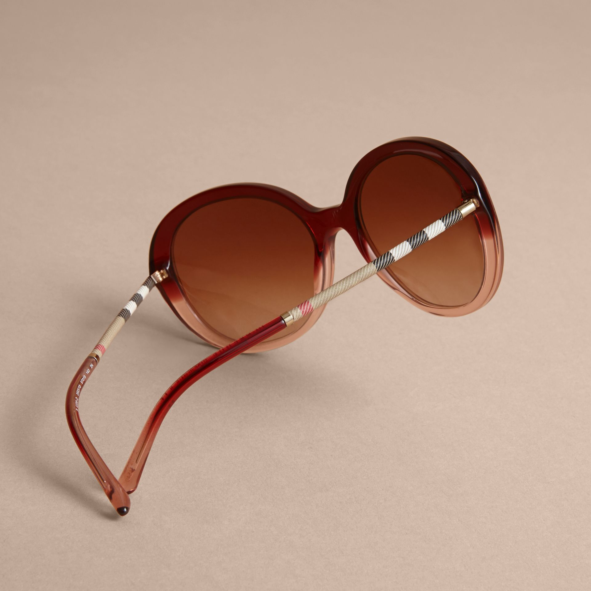 Check Detail Round Frame Sunglasses Oxblood - gallery image 4