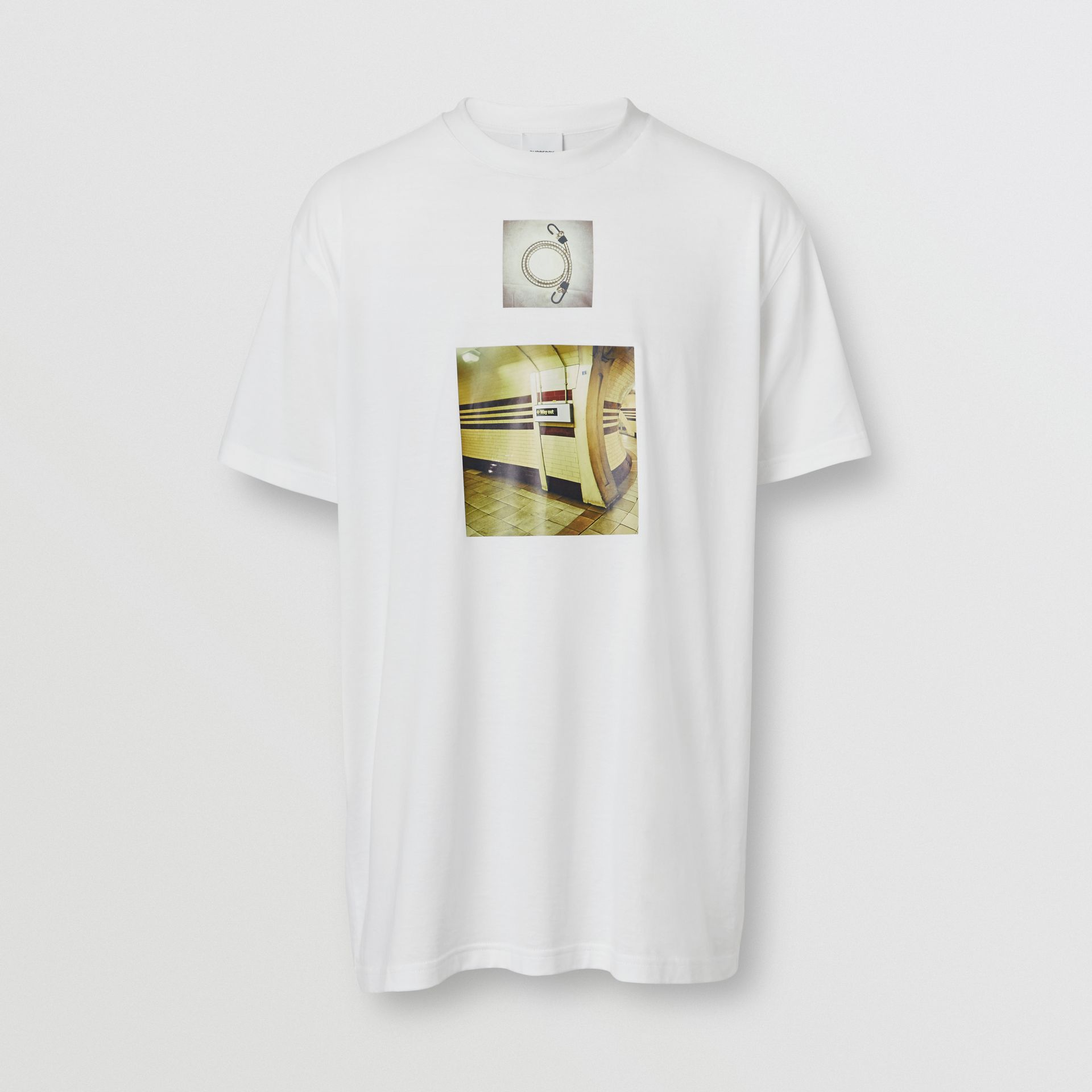Montage Print Cotton Oversized T-shirt in White - Men | Burberry - gallery image 3