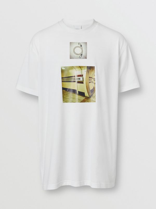 Montage Print Cotton Oversized T-shirt in White - Men | Burberry - cell image 3