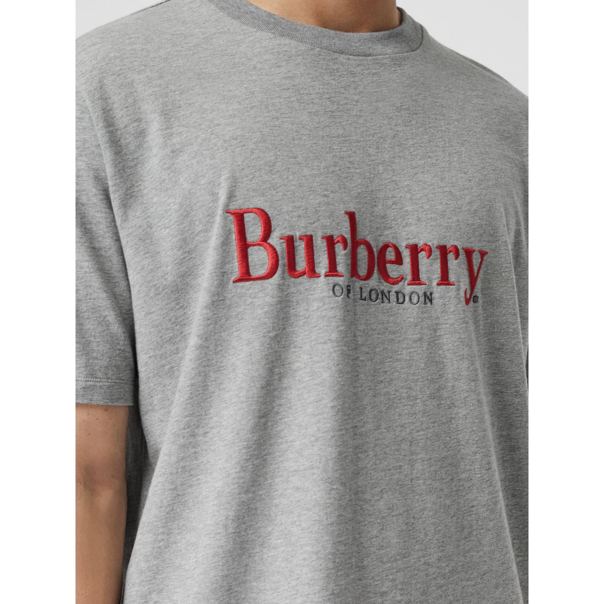 Embroidered Archive Logo Cotton T-shirt in Pale Grey Melange - Men | Burberry Canada - gallery image 1