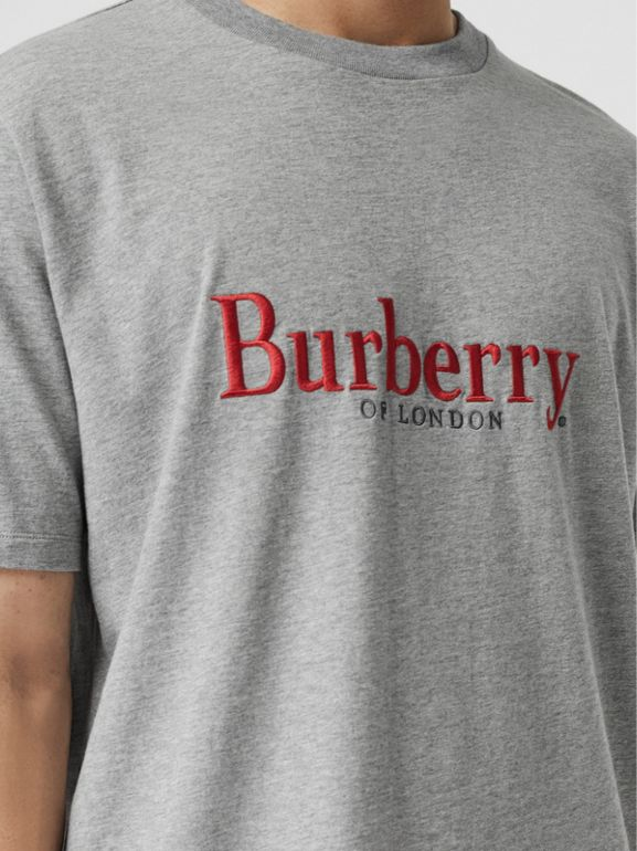 Embroidered Archive Logo Cotton T-shirt in Pale Grey Melange - Men | Burberry - cell image 1
