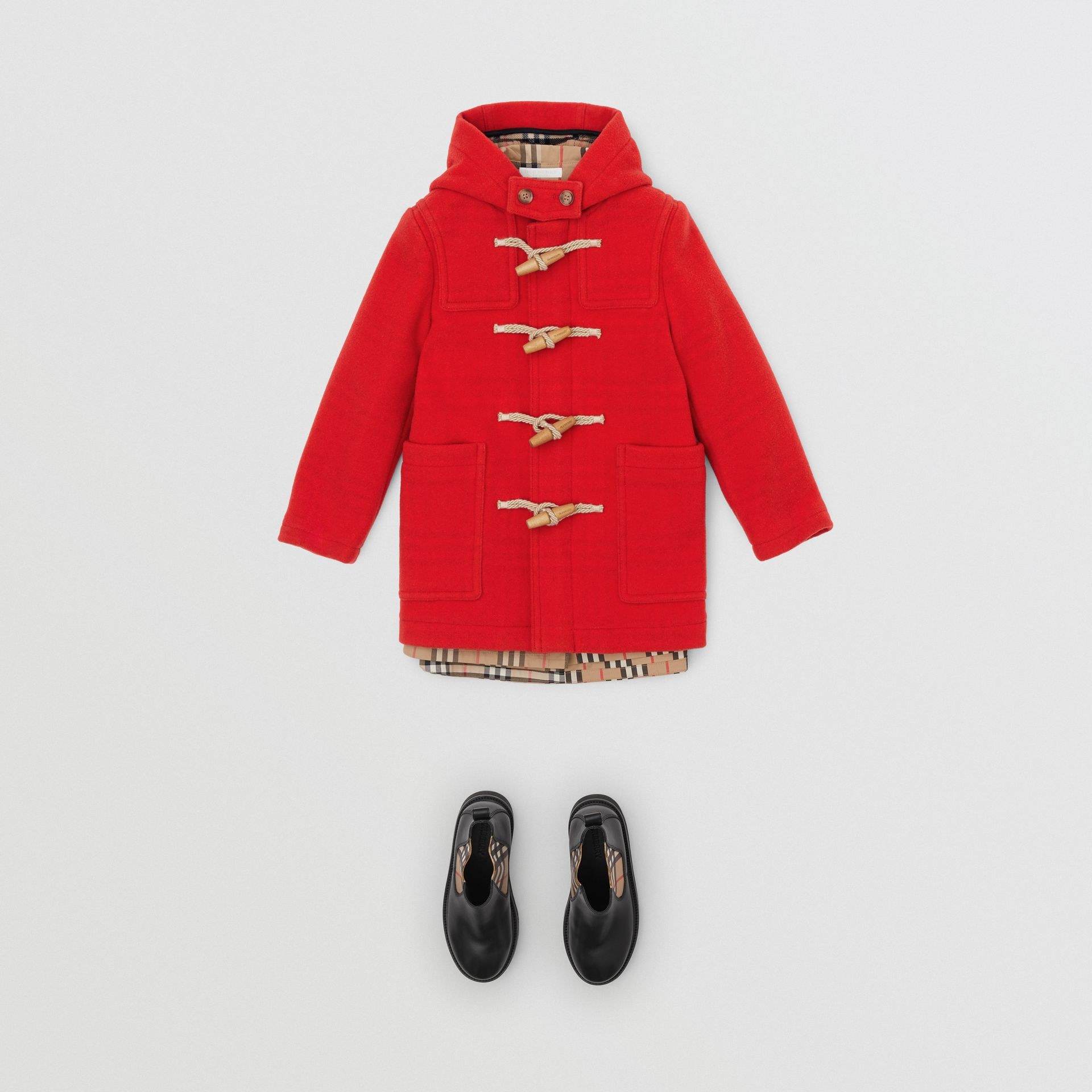 Double-faced Wool Duffle Coat in Bright Red | Burberry - gallery image 2