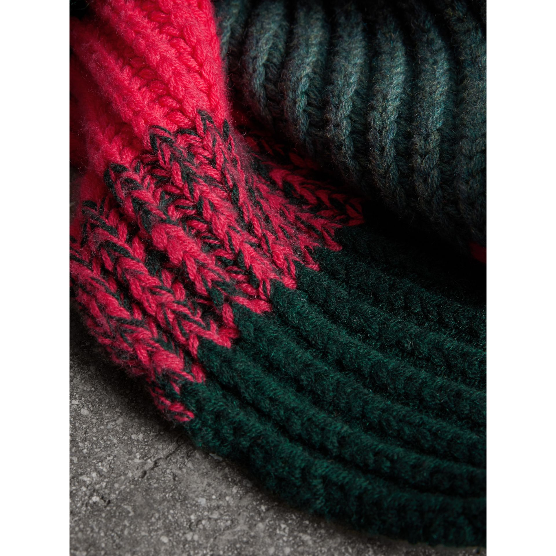 Striped Rib Knit Wool Cashmere Scarf in Bright Peony | Burberry - gallery image 1