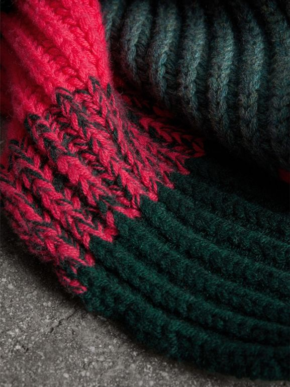 Striped Rib Knit Wool Cashmere Scarf in Bright Peony | Burberry - cell image 1