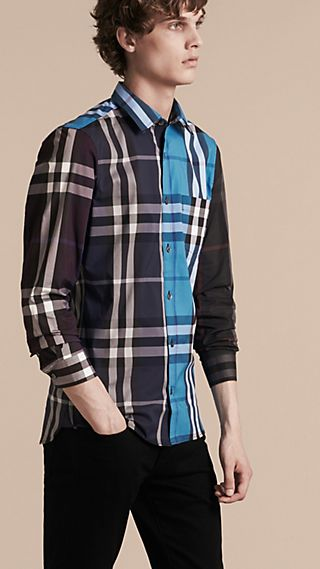 Colour Block Check Cotton Blend Shirt