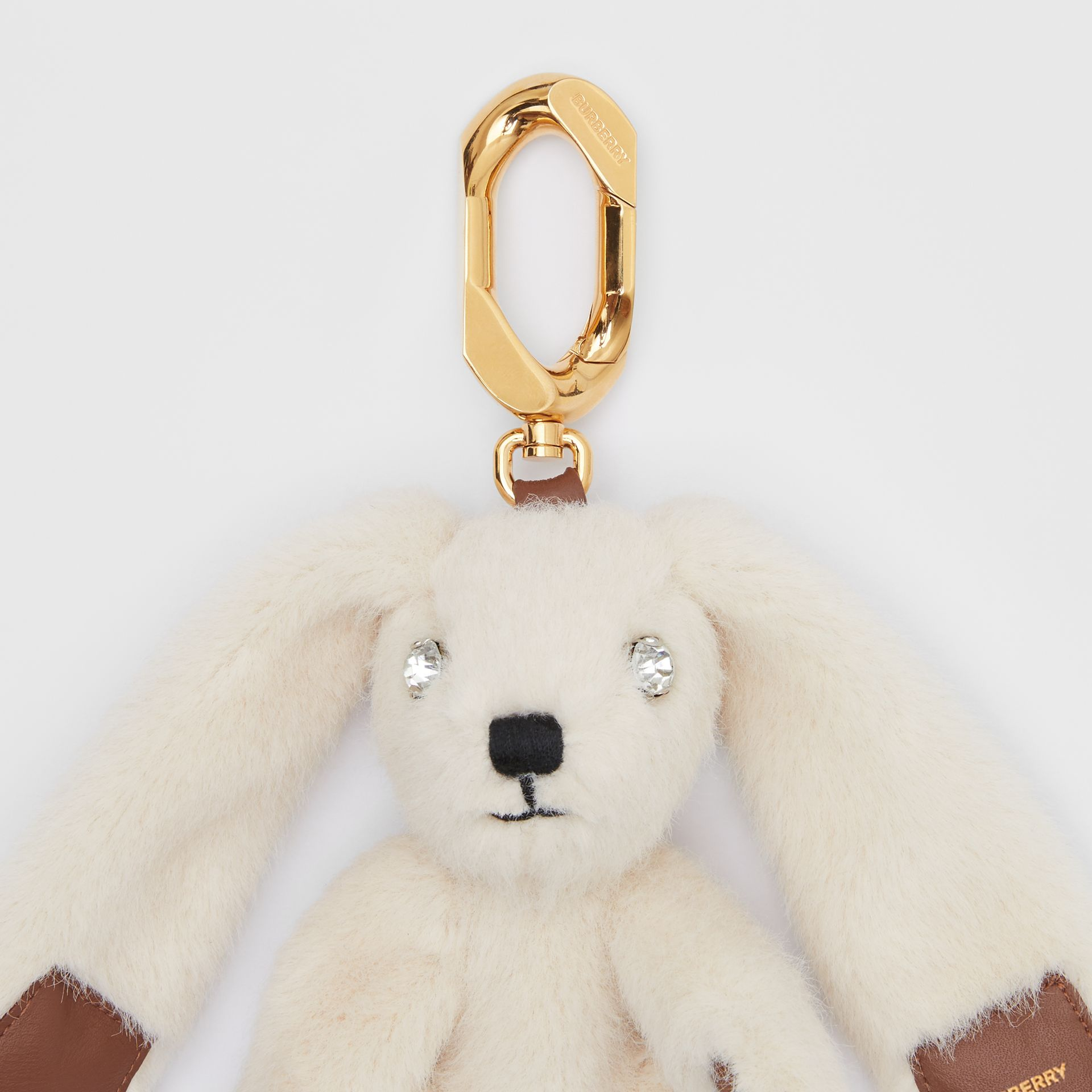 Embellished Faux Fur and Leather Rabbit Charm in Buttermilk   Burberry - gallery image 1