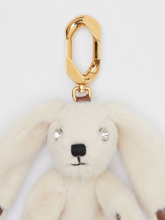 Embellished Faux Fur and Leather Rabbit Charm in Buttermilk   Burberry - cell image 1
