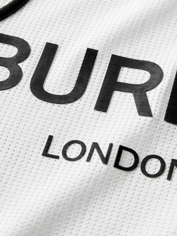 Logo Print Mesh Vest in White | Burberry - cell image 1