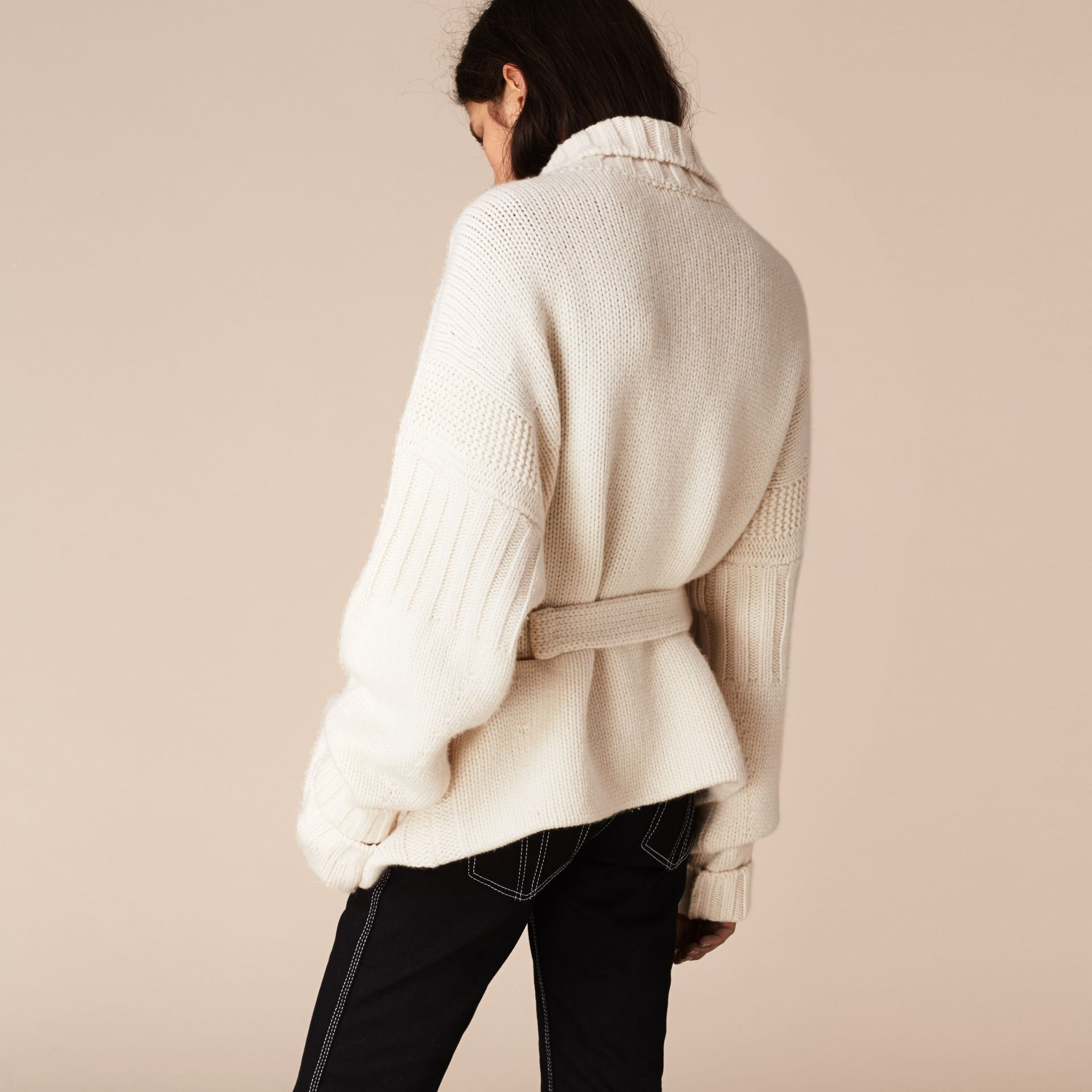 White Knitted Cashmere Belted Cardigan - gallery image 3