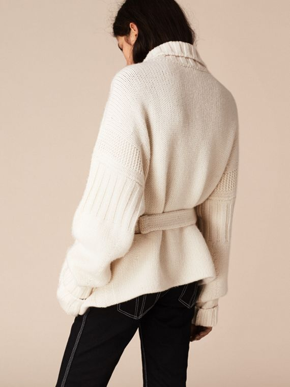 White Knitted Cashmere Belted Cardigan - cell image 2