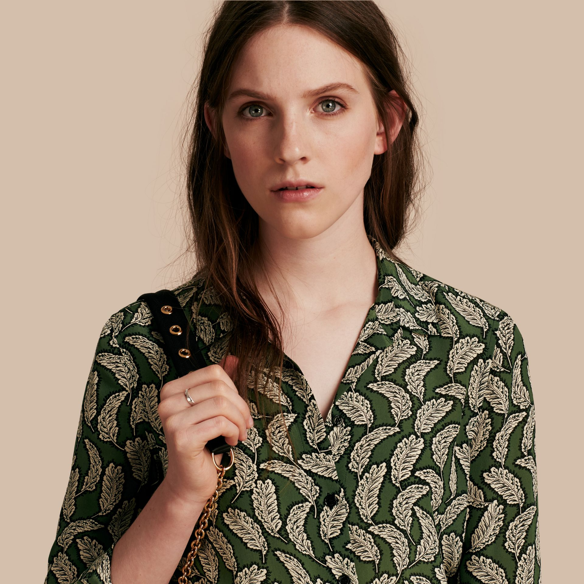 Dusty green Leaf Print Silk Shirt Dusty Green - gallery image 1