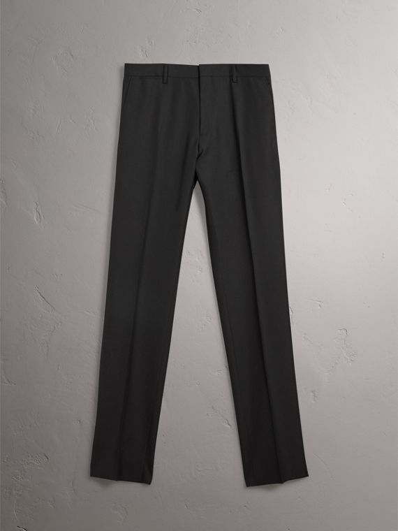 Modern Fit Wool Trousers in Black - Men | Burberry Canada - cell image 3