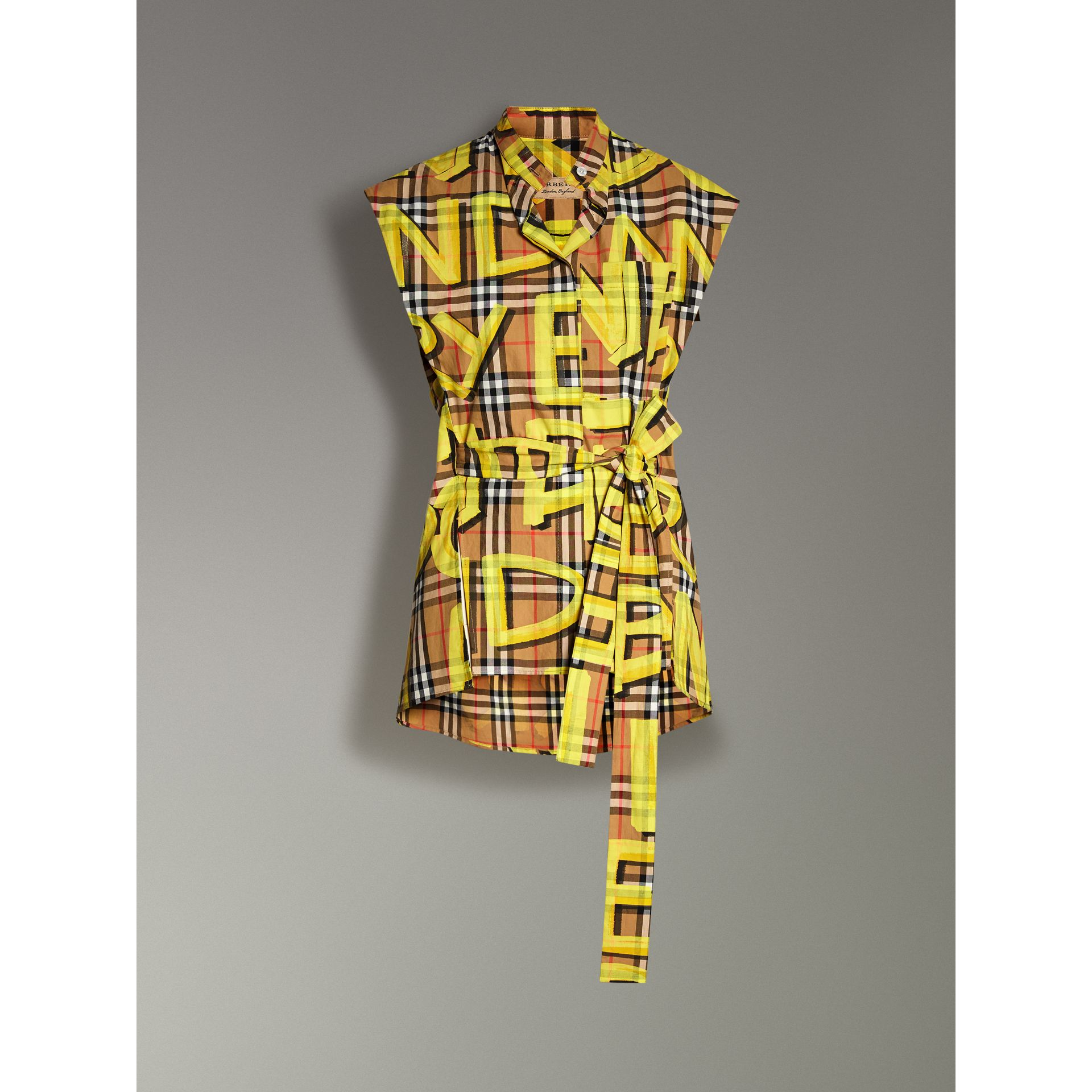 Sleeveless Graffiti Print Vintage Check Cotton Shirt in Bright Yellow - Women | Burberry - gallery image 3
