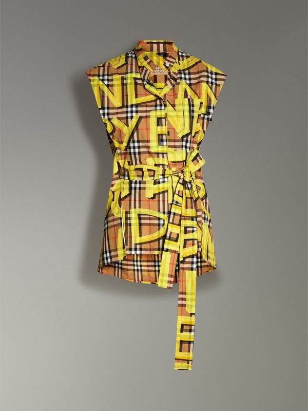 Sleeveless Graffiti Print Vintage Check Cotton Shirt in Bright Yellow - Women | Burberry Singapore - cell image 3
