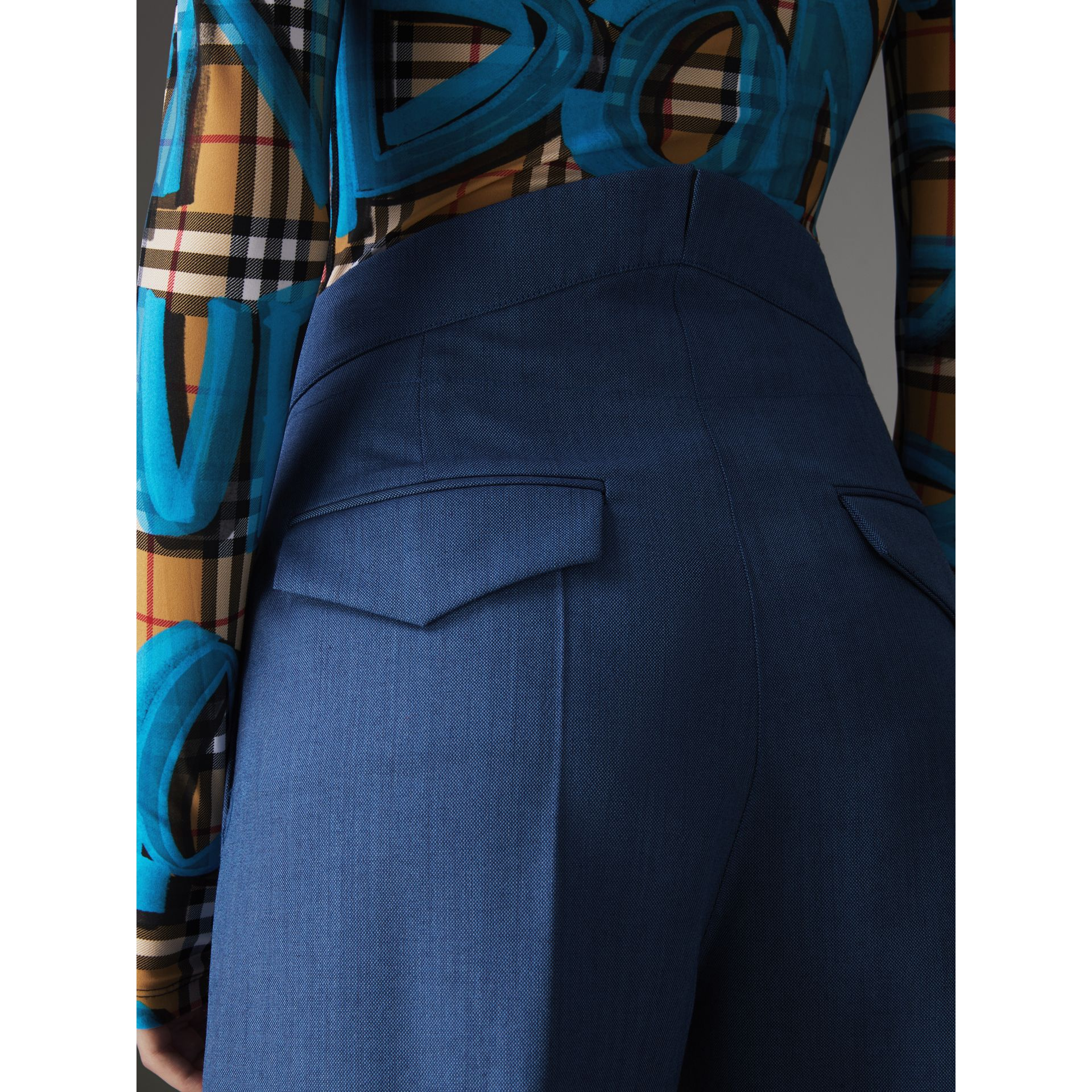 Wool Mohair Cropped Tailored Trousers in Bright Navy - Women | Burberry - gallery image 1