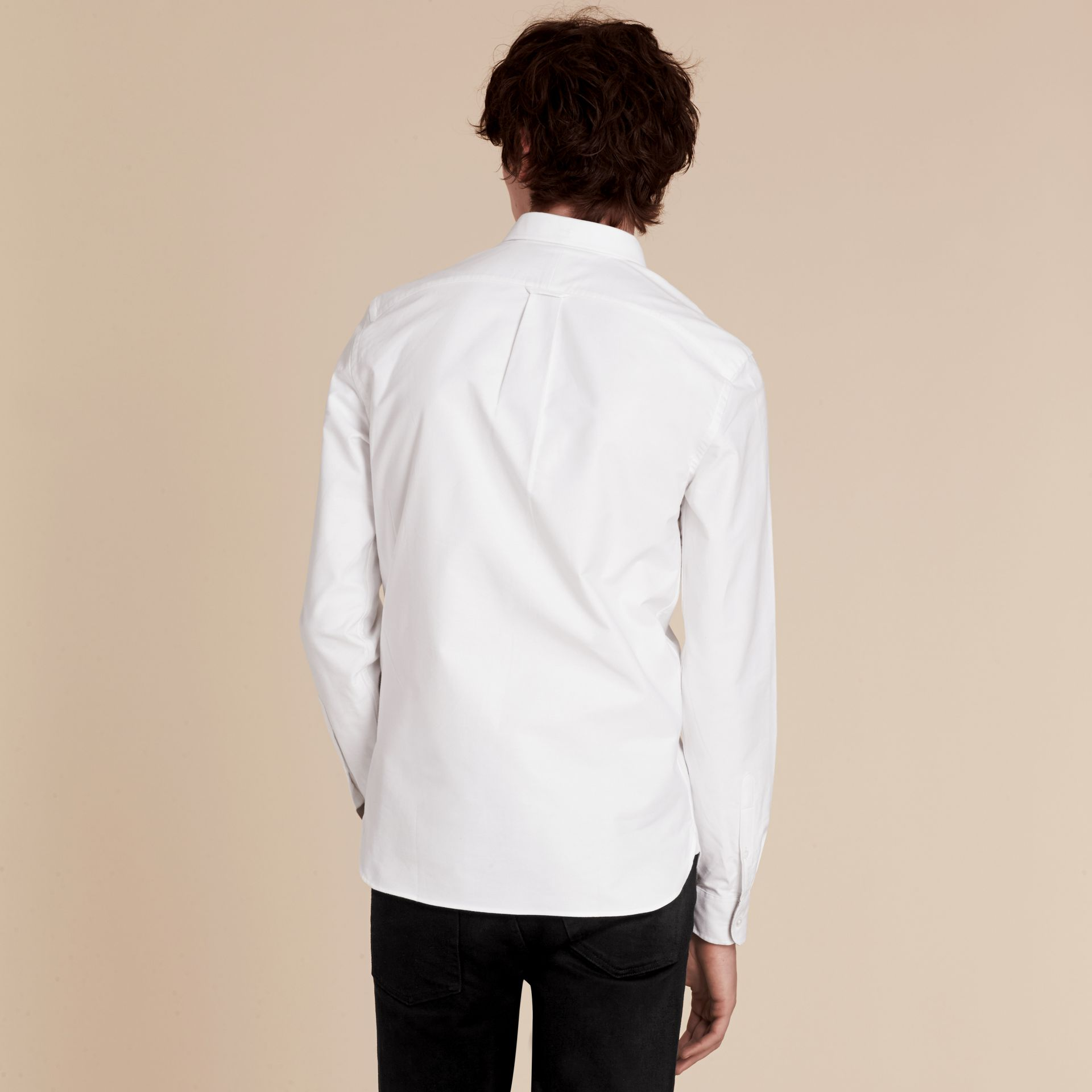 Check Detail Cotton Oxford Shirt in White - Men | Burberry Hong Kong - gallery image 3