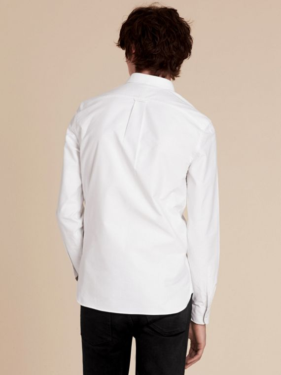 Check Detail Cotton Oxford Shirt White - cell image 2