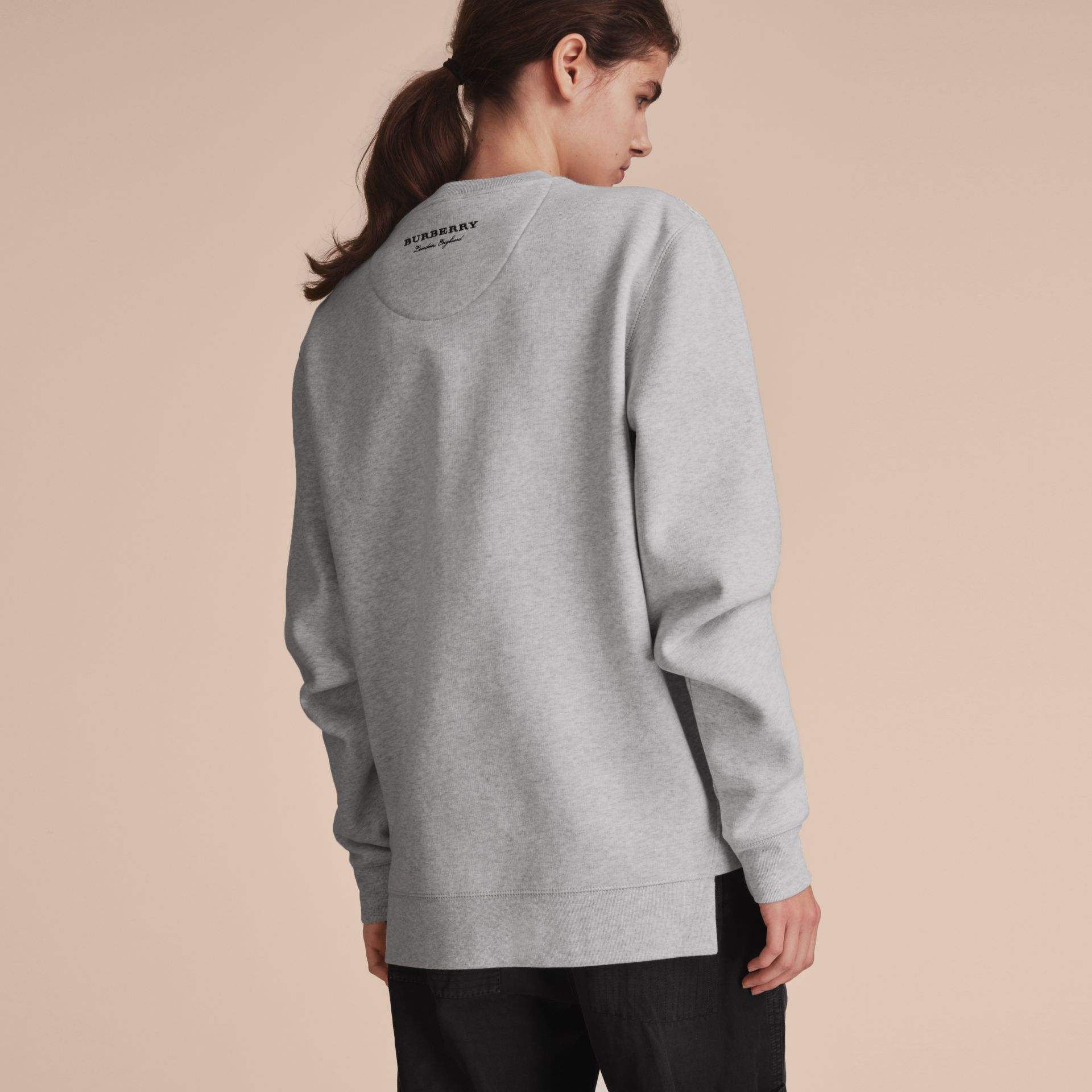 Unisex Lace Cutwork Sweatshirt in Light Grey Melange - Women | Burberry Singapore - gallery image 5