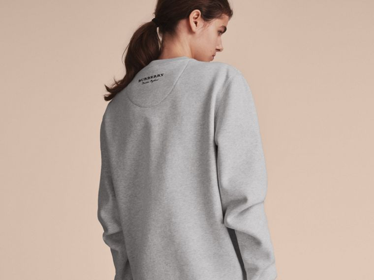 Unisex Lace Cutwork Sweatshirt in Light Grey Melange - Women | Burberry Singapore - cell image 4