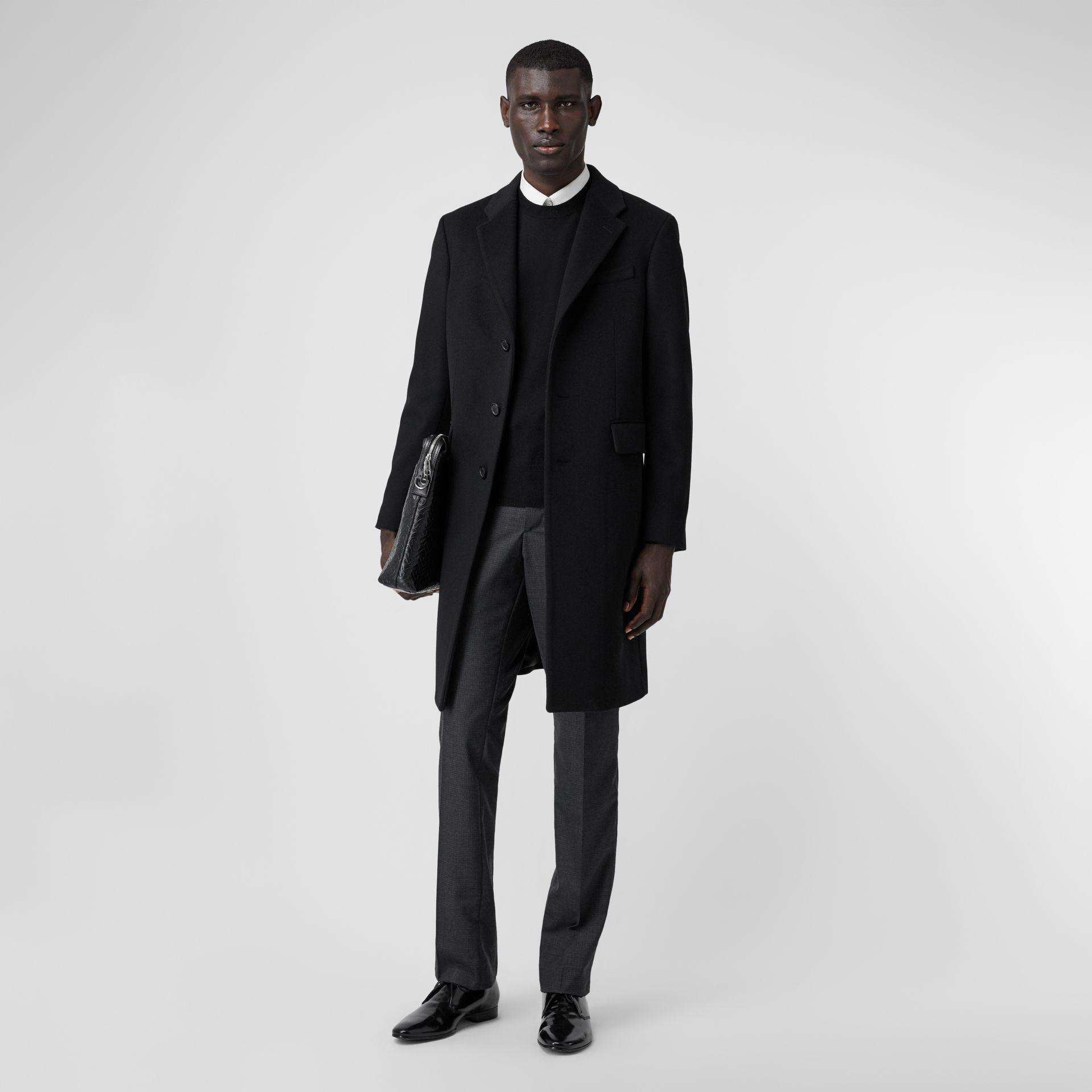Wool Cashmere Tailored Coat in Black - Men | Burberry United Kingdom - gallery image 0