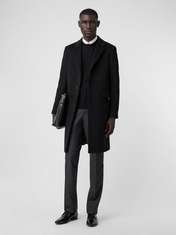 Wool Cashmere Tailored Coat in Black