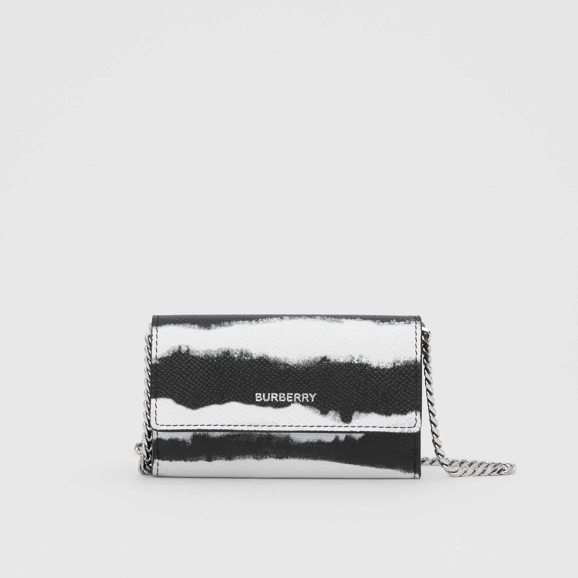 Small Watercolour Print Wallet with Detachable Strap in Black/white | Burberry - gallery image 0