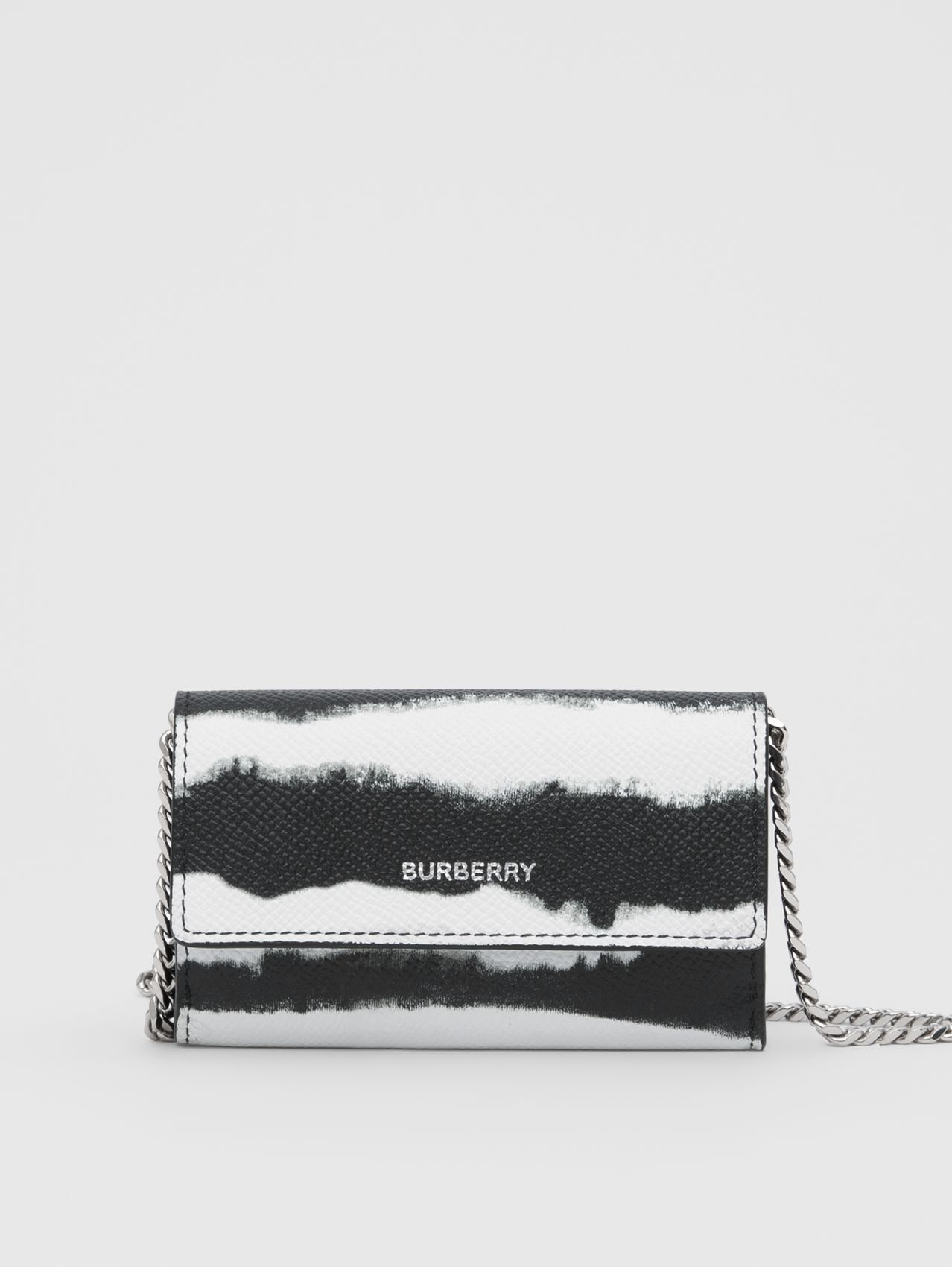 Small Watercolour Print Wallet with Detachable Strap (Black/white)
