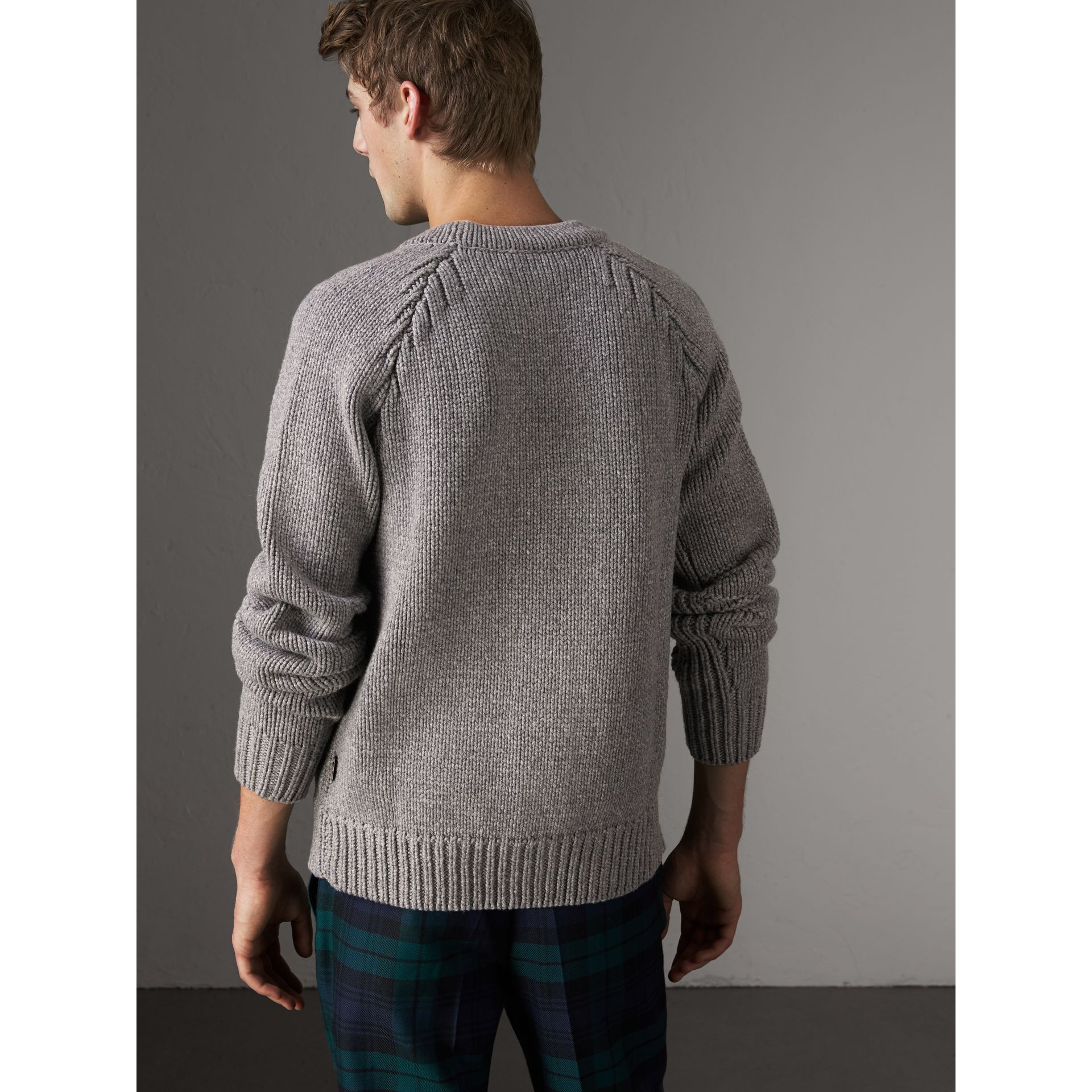 Chunky Knit Wool Cashmere Cardigan in Mid Grey Melange - Men | Burberry - gallery image 2