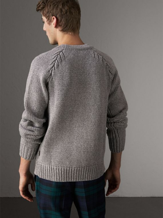 Chunky Knit Wool Cashmere Cardigan in Mid Grey Melange - Men | Burberry Australia - cell image 2