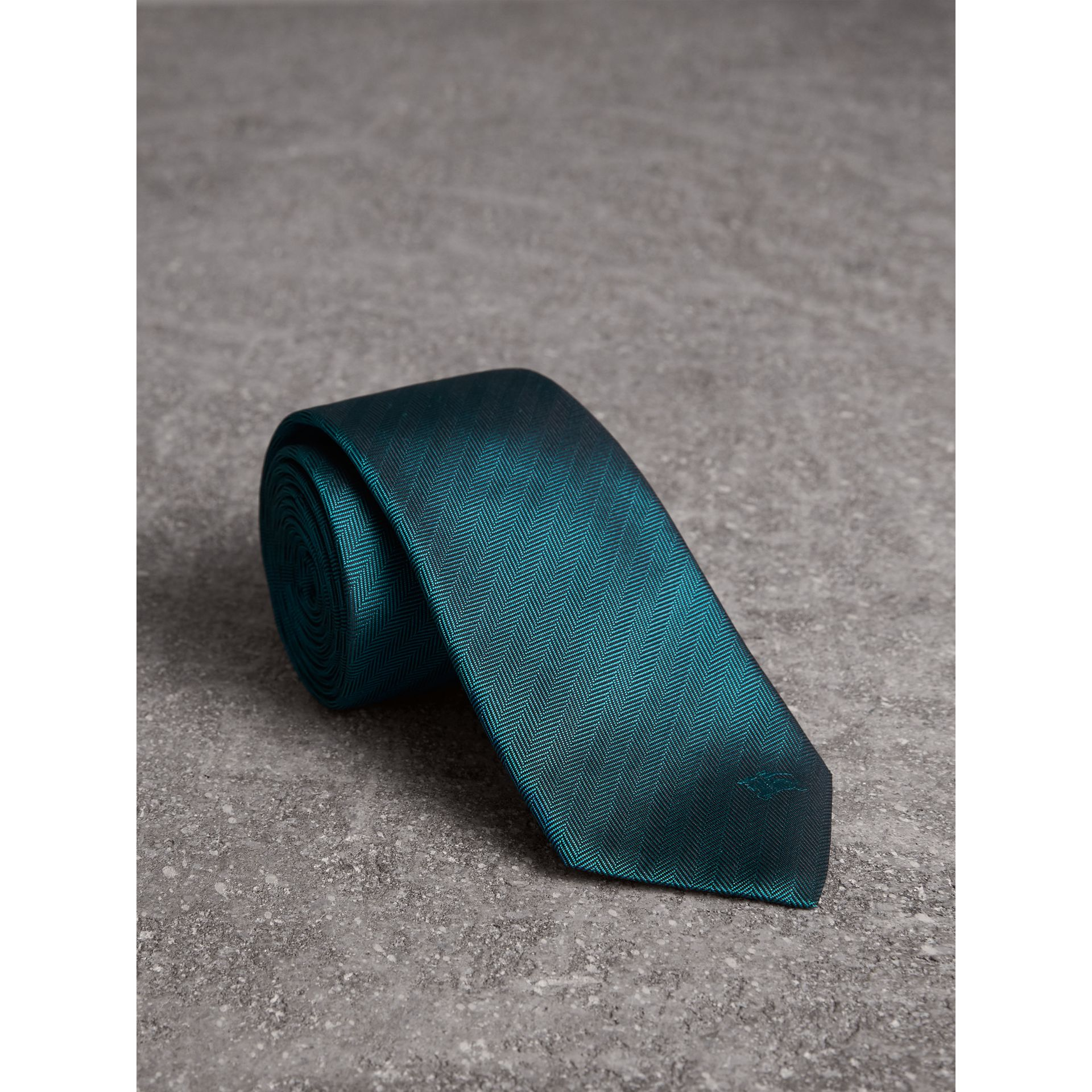 Modern Cut Silk Tie in Mineral Blue - Men | Burberry - gallery image 0