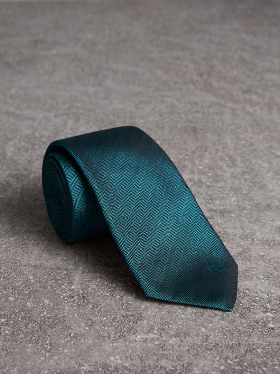 Modern Cut Silk Tie in Mineral Blue
