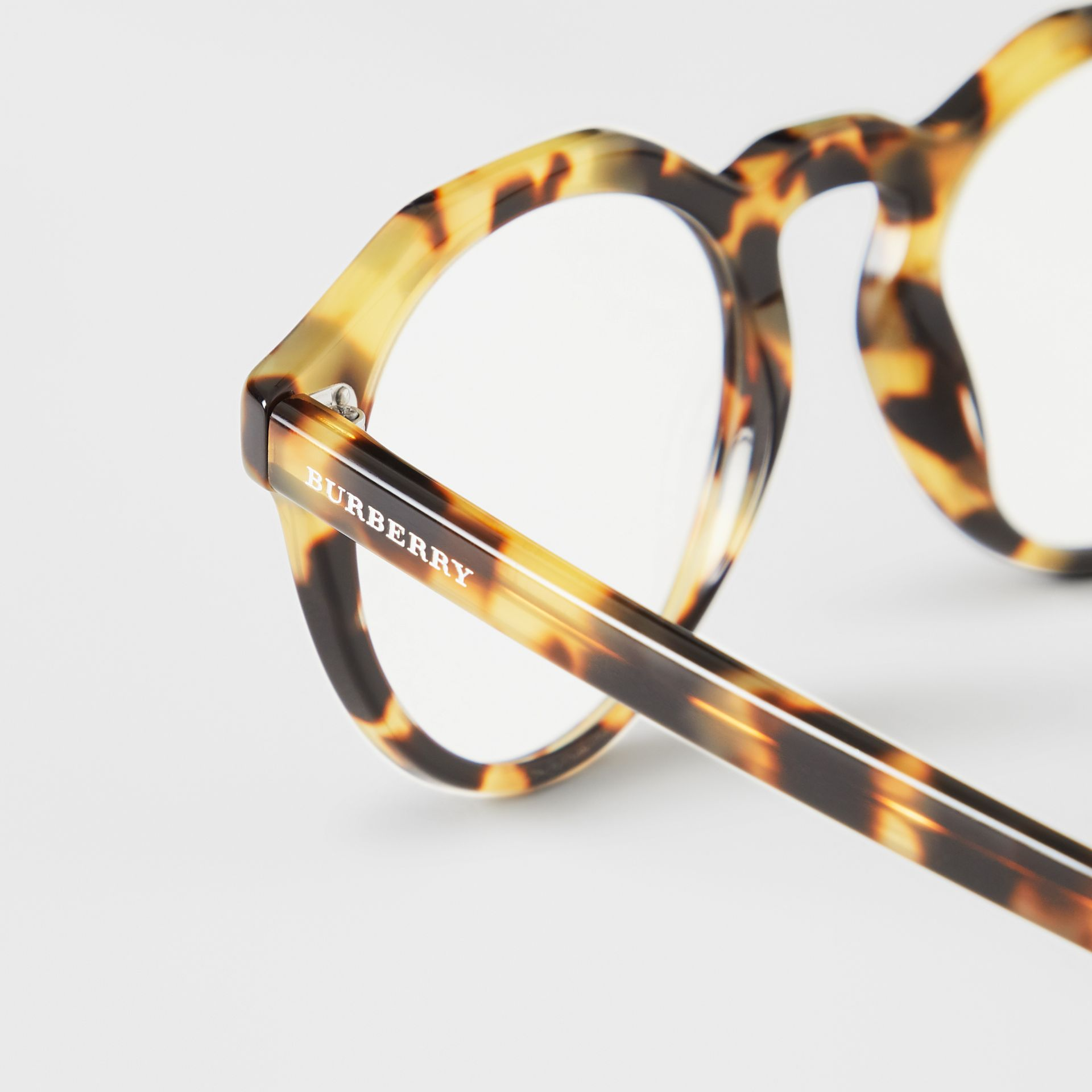 Keyhole Round Optical Frames in Tortoise Shell - Men | Burberry United Kingdom - gallery image 1
