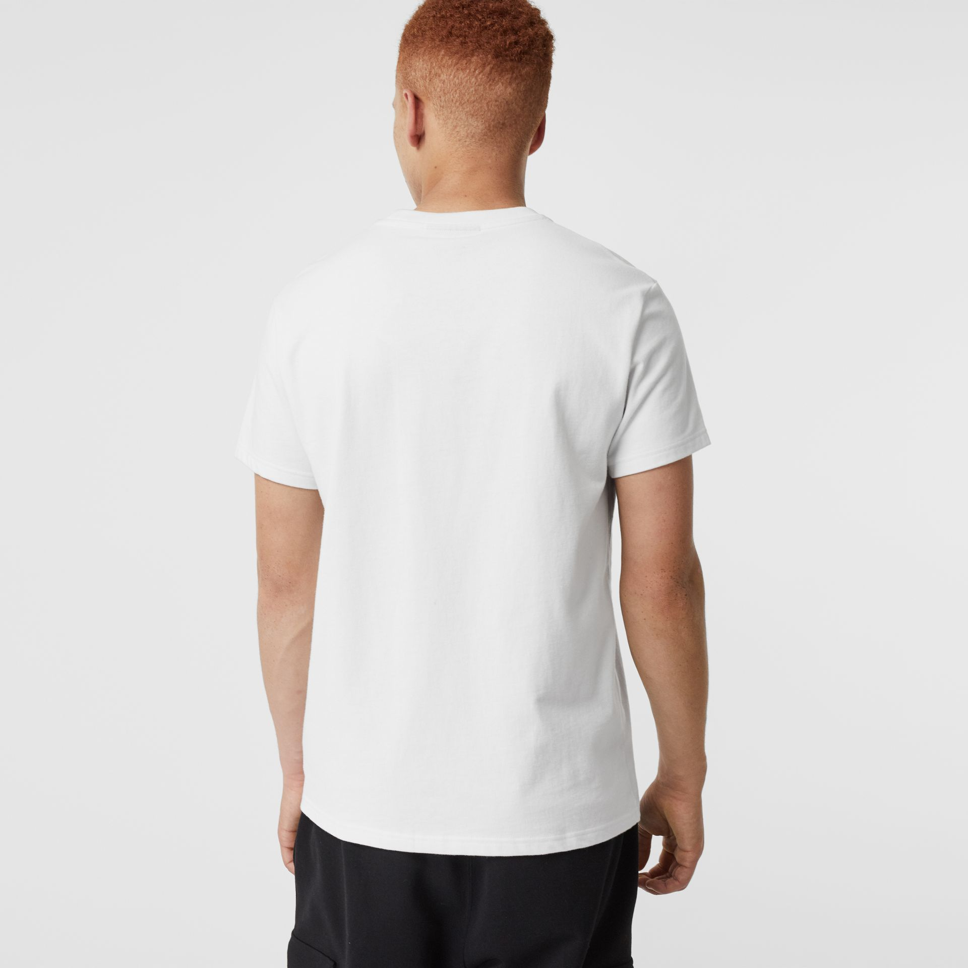 Contrast Crest Cotton T-shirt in White - Men | Burberry Australia - gallery image 2